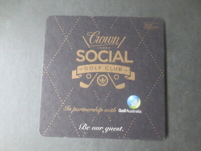 """1 only CROWN LAGER """"Social Golf Club"""" RARE  ,BEER  COASTER ,"""