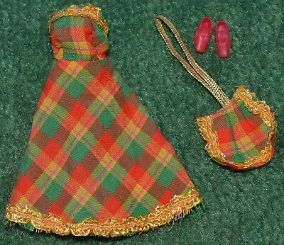 """Palitoy Pippa Doll Pack Fashions Tartan Dress Bag Shoes Fits 6"""" Dawn Others 70's"""