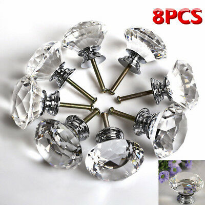 8PCS Clear Diamond Crystal Glass Door Knob/ Handle For Doors Cabinet Drawer 40mm