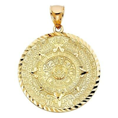 14K Real Solid Calendario Azteca Charm Pendant Yellow Gold 7.8grams 40mmX40mm