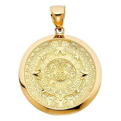 Real Solid Calendario Azteca Charm Pendant 14K Yellow Gold 8.4grams 36mmX36mm