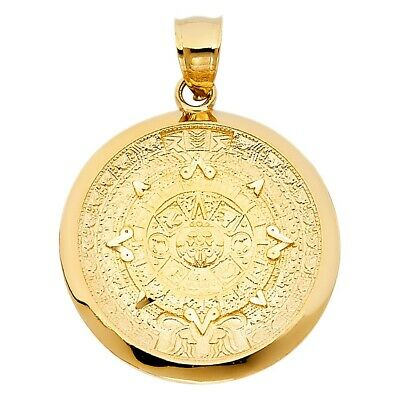 Yellow Gold Real Solid Calendario Azteca Charm Pendant 14K 27mmX27mm 3.7grams