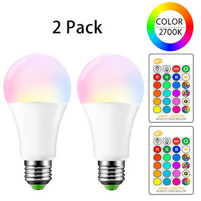 E26 15W RGB & W Led Light Bulbs Night Light Bulb Dimmable Color Lamp By Remote
