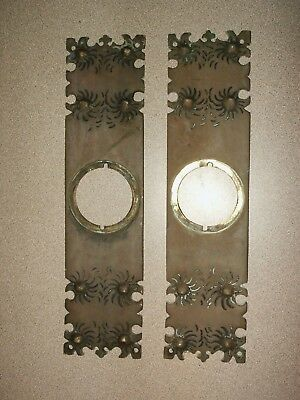 Antique Pair Cast Brass Door Knob Back Plates Set of 2 Victorian Architectural
