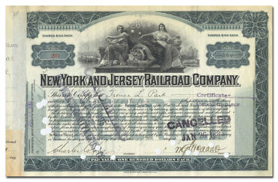 New York and Jersey Railroad Company Stock Signed by William Gibbs McAdoo