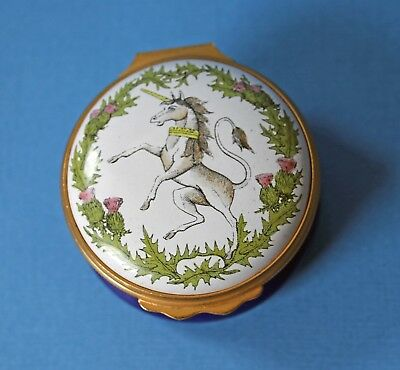 Halcyon Days Enamels England Unicorn Box With Quotation from Robert Burns Inside