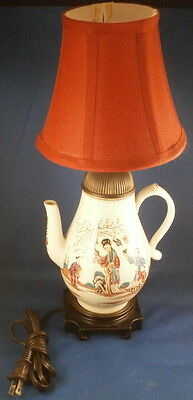 Rare 18thC Liverpool Porcelain Chinoiserie Scene Coffee Pot Lamp Scenic English