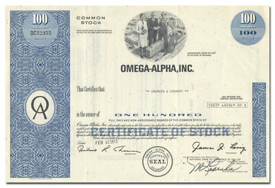 Omega-Alpha, Inc. Stock Certificate (James Ling)