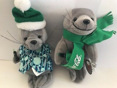 Coca Cola Plush Bean Bag Toys Lot Of 2 Seals New #207 And 0123