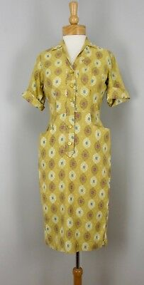 VTG 50s Muted Yellow Gold Filagree Medallion Print Shirtwaist Pencil Day Dress M