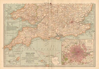 1903 Antique Map- England And Wales, Southern Part, London, Scilly, Cornwall