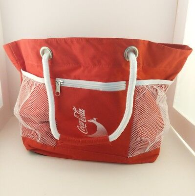 Red Coca-Cola Hand Tote Surfer Beach Pool Summer Bag w/ Rope Handles
