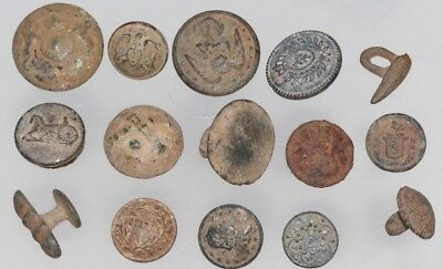 Lot Of 15 Military Uniforms Buttons From Medieval Period To 18 Century