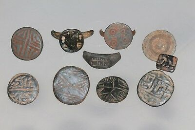 Nice Lot of 10 Ancient Bronze Ring Heads , Include Seal Head Circa 300 BC-400 AD