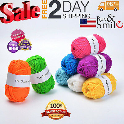50 Acrylic Yarn Skeins Wool Crafts Crochet Knitting Lot Of Mixed Assorted Colors