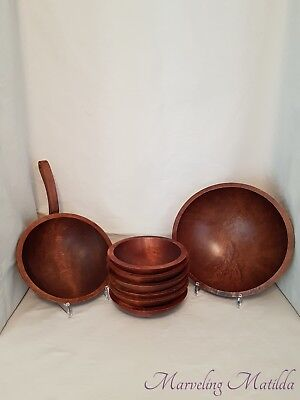 Vintage - Baribocraft Canada - Wood 7 Pc Salad Set + Skillet Handled Bowl(8 Pcs)