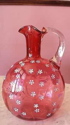 Antique Victorian Cranberry Optic Jug/Decanter Enameled Decor Clear Handle.
