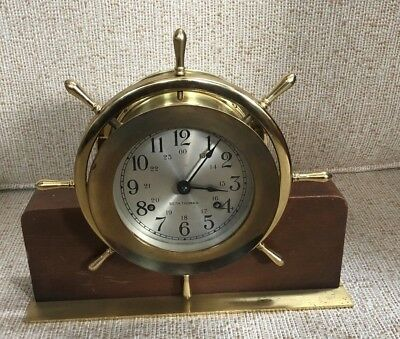 Seth Thomas Helmsman Brass Ships Bell Clock With 7 Jewel Movement With Base
