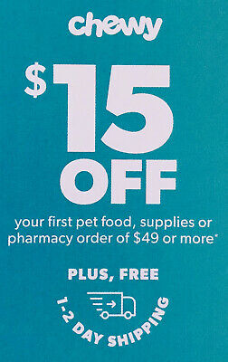 ➡️ BEST DEAL! CHEWY—$15 OFF First Order of $49–chewy.com—Exp. 11/30/19