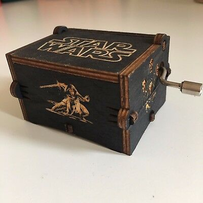 Star Wars Music Box Hand-Cranked Toys Xmas Gifts Engraved Wooden Music Box