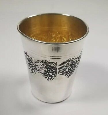 Vintage Judaica Kiddish Cup Sterling Silver Grape Vine Relief Tumbler Goblet