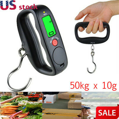 50kg x 10g Digital Hanging Hook Scales Handheld LCD Electronic Luggage Scale US