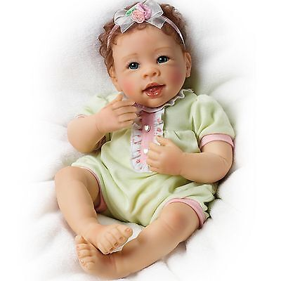 Ashton Drake Raspberry Kisses Touch-Activated baby girl doll by Linda Murray
