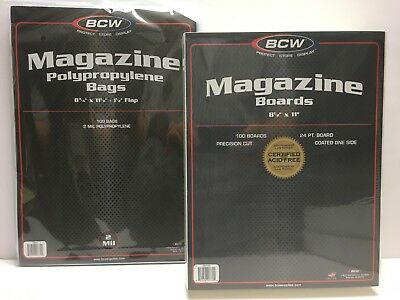 100 BCW Magazine Size Bags (8 3/4) & Boards (8 1/2) Comic Storage/Supplies