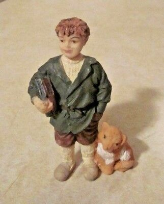 Dollhouse Miniature Resin Doll - Victorian School Boy With Books And His Dog