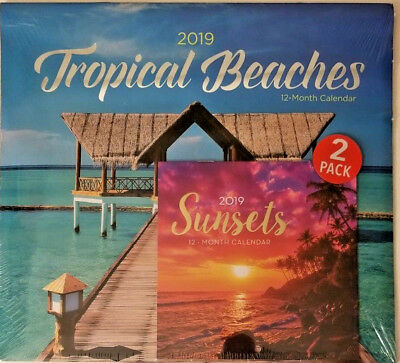 2 pack Of 12 Month 2019 Wall Calendars Tropical Beaches & Sunsets w