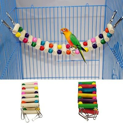 Wooden Hanging Ladder Swing Bridge Bird Standing Resting Tools Paly Toy Colorful