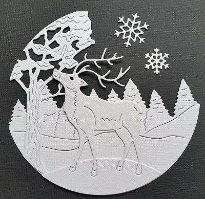 CHOICE OF COLOUR  - Reindeer Scene - 2 x Sets - 10 Pieces - CHRISTMAS DIE-CUTS