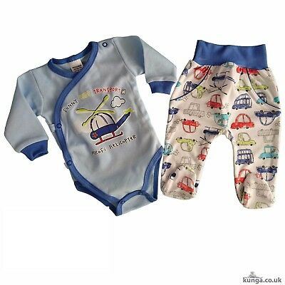 Baby Toddler Boys Set of Bodysuit & Trousers *Outfit 100% COTTON Size 0-3 Months