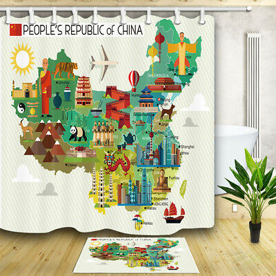 Map of China and Travel Icons Curtain Shower  Bathroom Fabric 12hooks 71*71inch