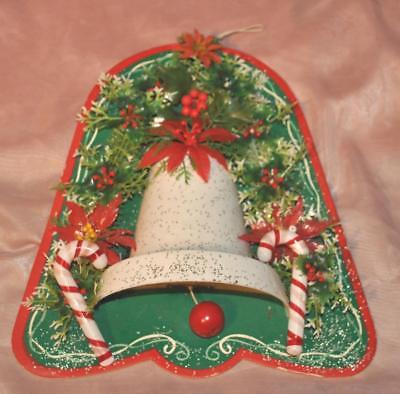 Gorgeous Kitschy 1950's Xmas Wall Hanging Bell Music Box, Blown Mold Greenery