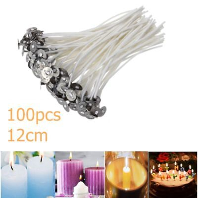 Pack 100 for Candle Making With Sustainers Pre Waxed Candle Wicks  - 12cm Long
