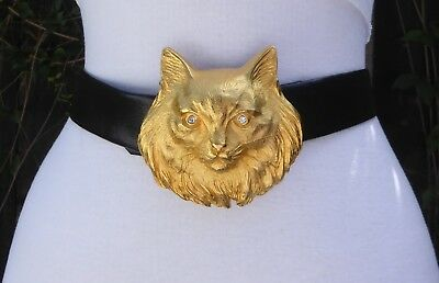 Vtg. Doreen Ryan Gold Tone Metal Kitten Cat Buckle w/Black faux. Leather Belt