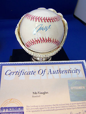 Red Sox Angels Slugger Mo Vaughn Signed Auto Al Baseball  Steiner Certified