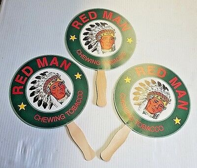 Lot of 3 Red Man Chewing Tobacco Indian Chief Paper & Wood Advertising Hand Fan