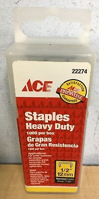 "Ace Heavy Duty Narrow Crown Staples 1/2"" (12mm) 1000 ct box"