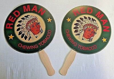 Two Red Man Chewing Tobacco Indian Chief Paper & Wood Advertising Hand Fans