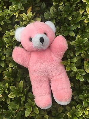 Vintage Plush Pink & White Small Teddy Bear 1970s Soft Toy Collectable 22cm