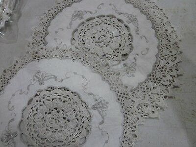 Medium Vintage - embroidered - crocheted Doilies - 8 in this lot - Beige