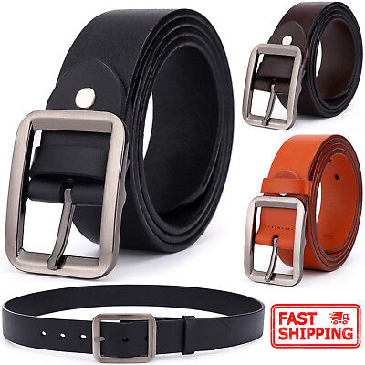 Men's Classic Metal Buckle Handcrafted Genuine Leather Casual Dress Jean Belt