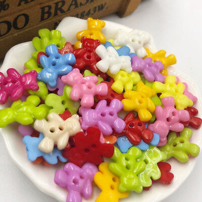 100pcs Mix Bear Plastic Buttons For Kid's Sewing Notions Crafts PT97