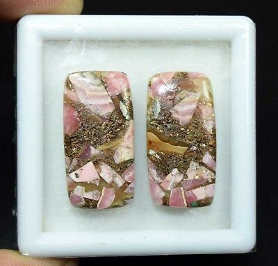 32.55 Cts.Natural Pair Copper Rhodochrosite Cabochon 28*14*3.5 mm Loose Gemstone