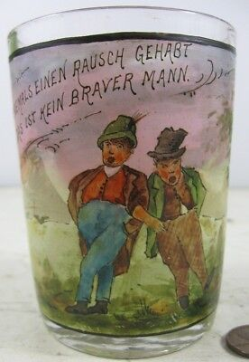 Antique 19th Century Enameled Painted Scene Glass Wer Niemals Einen Rausch