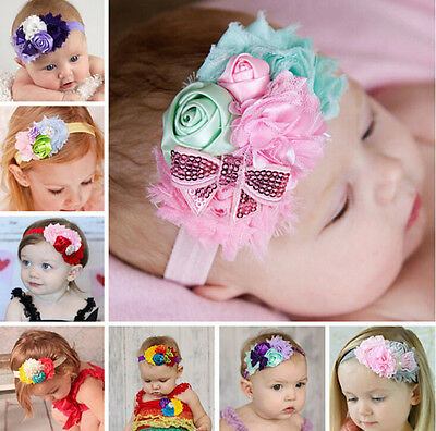 CUTE Girl Baby Headband Toddler Lace Bow Flower Hair Band Accessories Headw JH