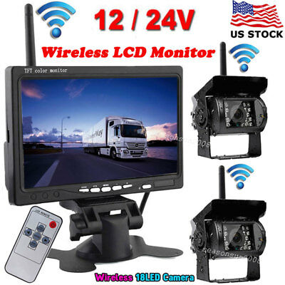 "2x Wireless IR Night Vision Backup Rear View Camera+7"" LCD Monitor for Bus Truck"