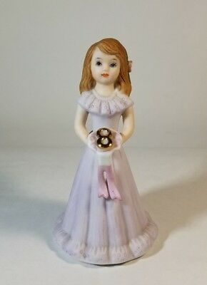 1982 Enesco Growing Up Birthday Girls Figurine -- Age 8 Brunette Porcelain EUC